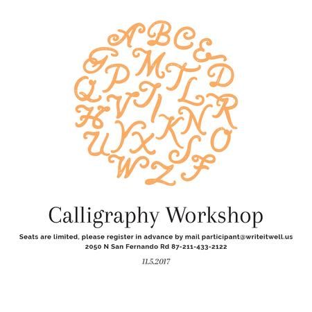 Ontwerpsjabloon van Instagram AD van Calligraphy Workshop Announcement Letters on White