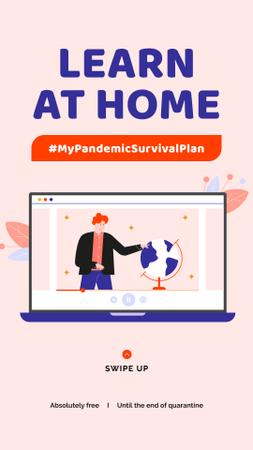 Plantilla de diseño de #MyPandemicSurvivalPlan Man studying Globe on screen Instagram Story
