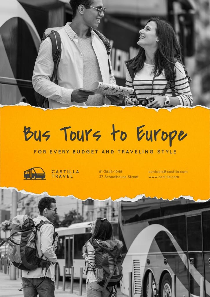 Bus Tours to Europe Offer with Travellers in city —デザインを作成する
