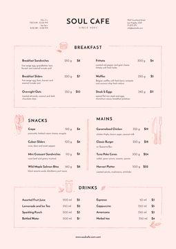 Cafe Food and Beverages Offer