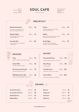 Plantilla de diseño de Cafe Food and Beverages Offer Menu