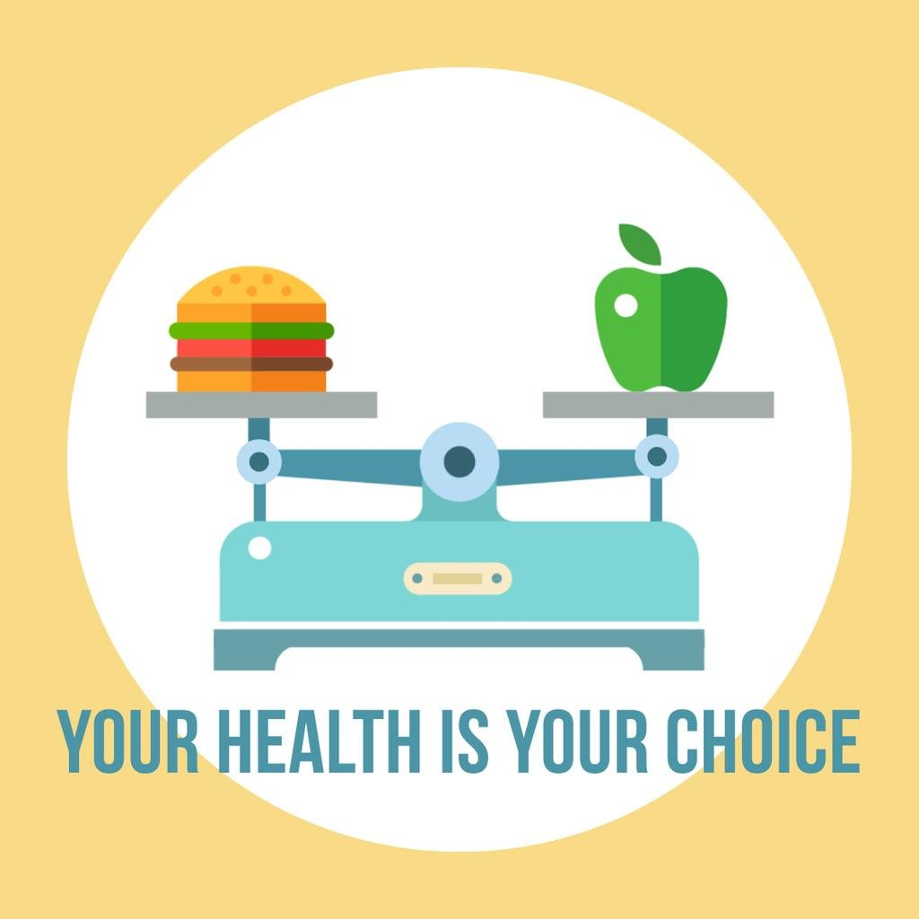 Scales with healthy and fast food — Créer un visuel