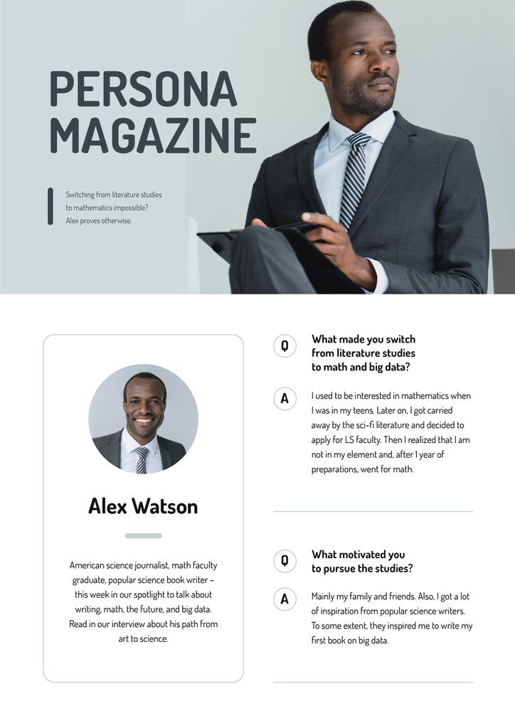 Magazine Article about Science Journalist — Créer un visuel