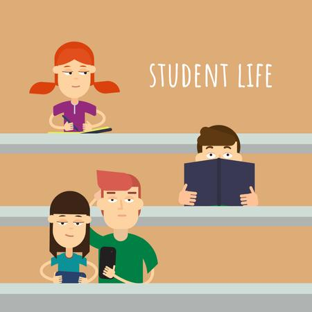 Students learning in class Animated Post Design Template