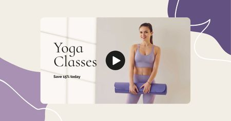 Yoga Classes promotion with Woman holding Mat Facebook ADデザインテンプレート
