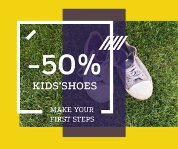 Kids' Shoes Sale Sneakers on Grass | Large Rectangle Template