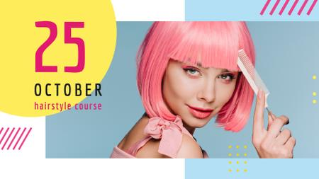 Template di design Hairstyle Course Ad Girl with Pink Hair FB event cover
