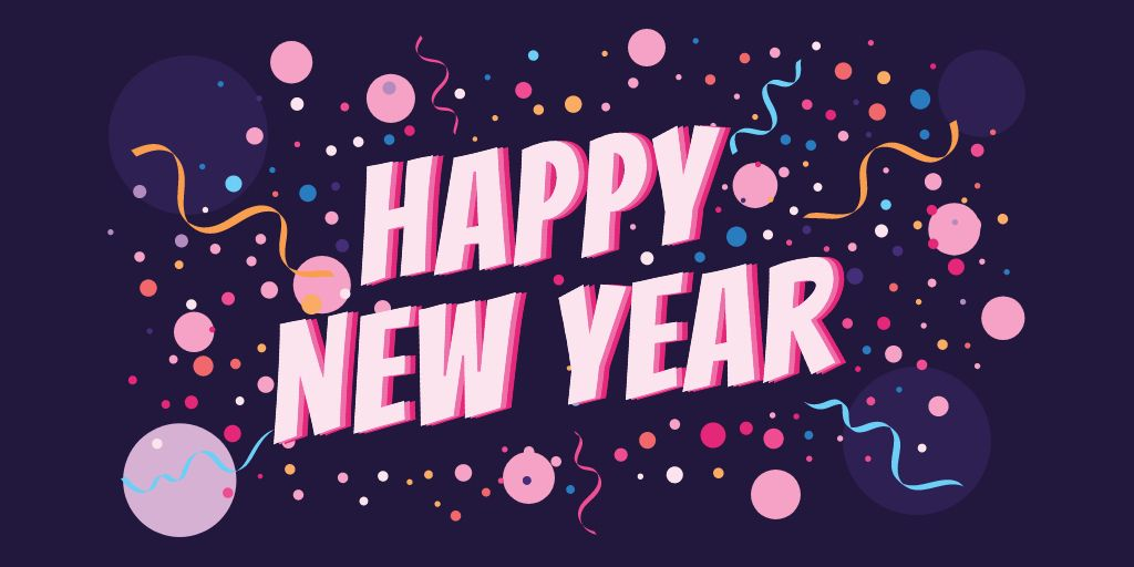 Plantilla de diseño de New Year Greeting with Festive Confetti Twitter