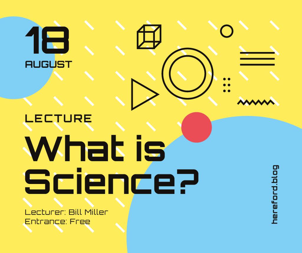 Scientific Event Announcement Geometric Pattern in Yellow — Создать дизайн