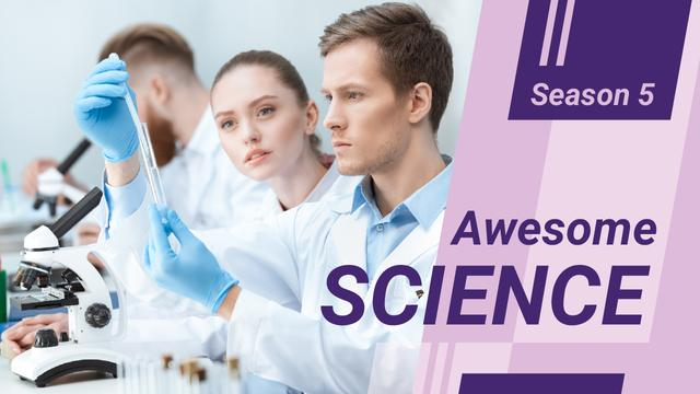 Team of Scientists Working by Microscope Youtube Thumbnail Modelo de Design