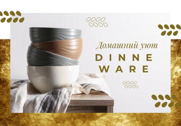 Dinnerware Ad with Stylish Bowls on Table