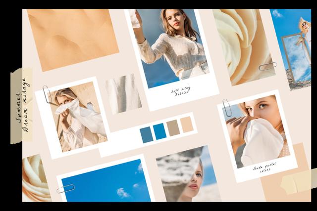 Modèle de visuel Stylish Girl in summer clothes - Mood Board