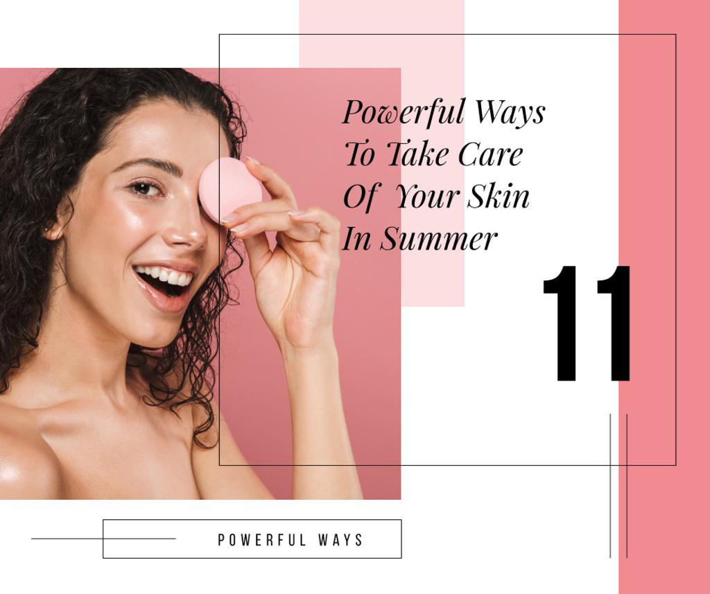 Skin Care Tips Woman cleaning Face Facebook Modelo de Design
