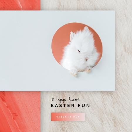 Cute Easter bunny on light Background Animated Post Modelo de Design