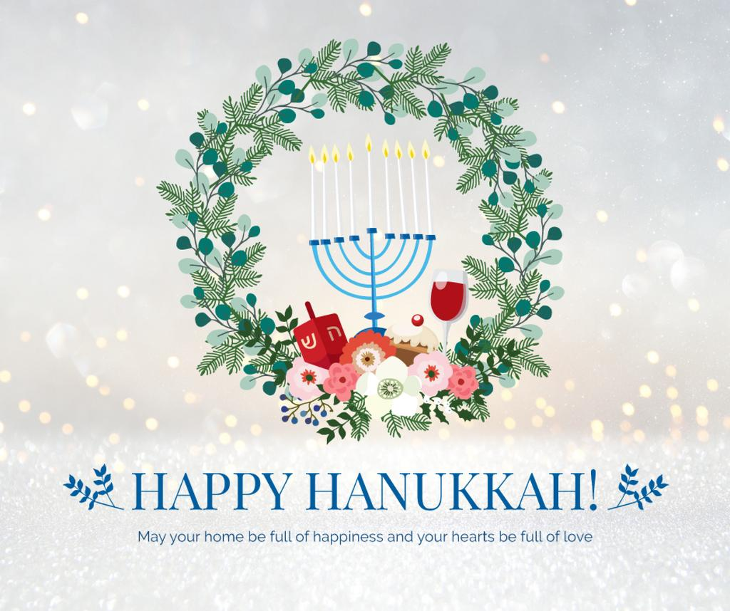 Happy Hanukkah greeting wreath — Modelo de projeto