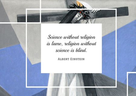 Designvorlage Citation about science and religion für Card