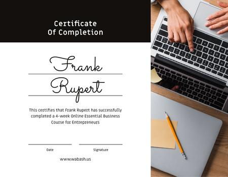 Online Business Course Completion confirmation Certificateデザインテンプレート
