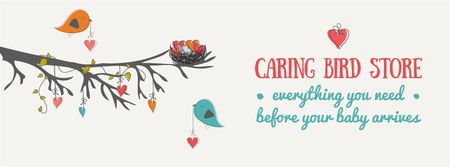 Plantilla de diseño de Birds decorating tree with hearts Facebook Video cover