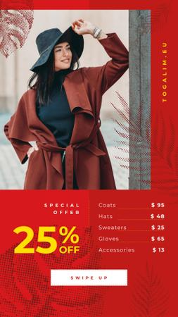 Szablon projektu Fashion Sale Stylish Woman in Warm Clothes Instagram Story