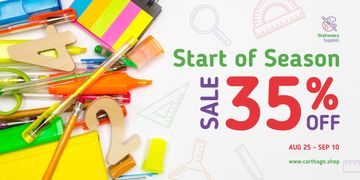 Back to School Sale Stationery on White