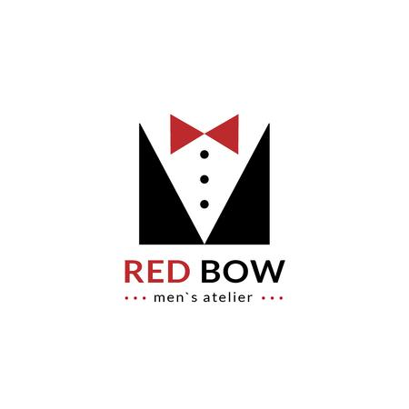 Plantilla de diseño de Fashion Atelier with Male Suit with Bow-Tie Logo