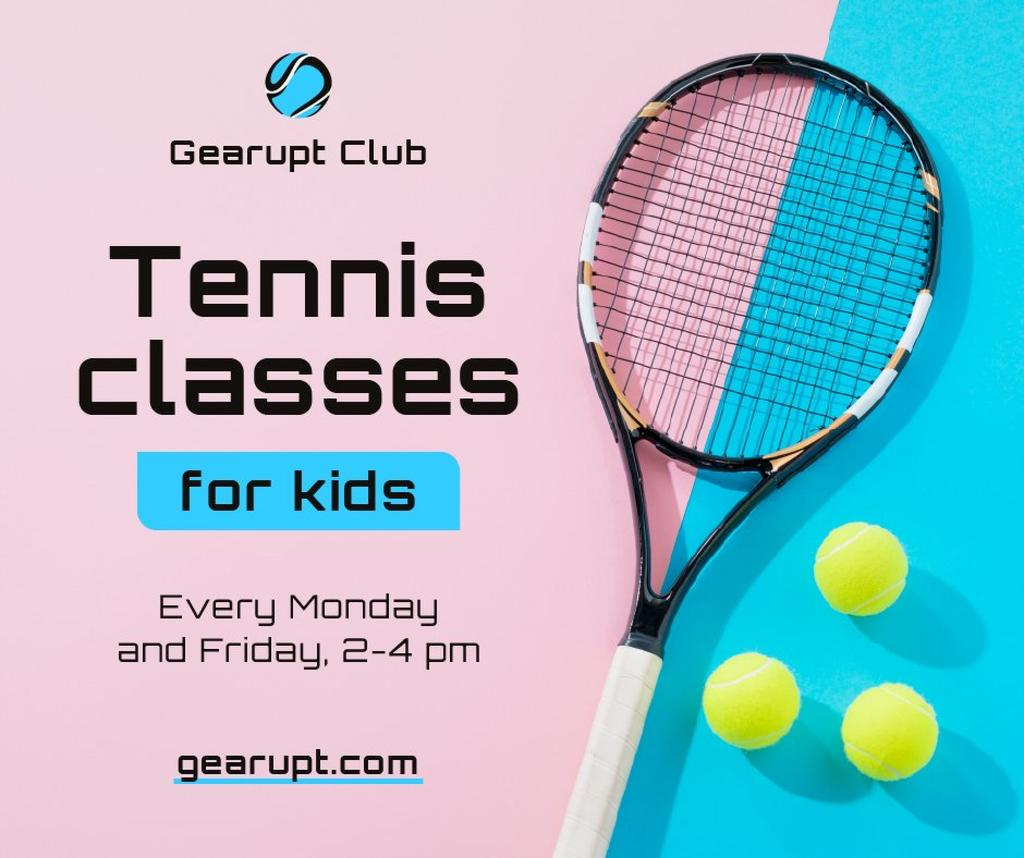 Sports Classes for Kids Tennis racket on court Facebookデザインテンプレート