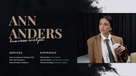 Template di design Business Analyst Services Ad Woman in Suit in Brown Full HD video