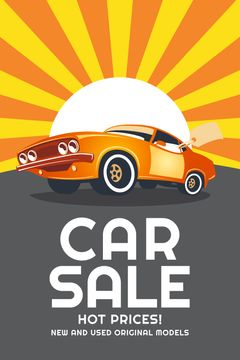 Car Sale Advertisement Muscle Car in Orange | Tumblr Graphics Template