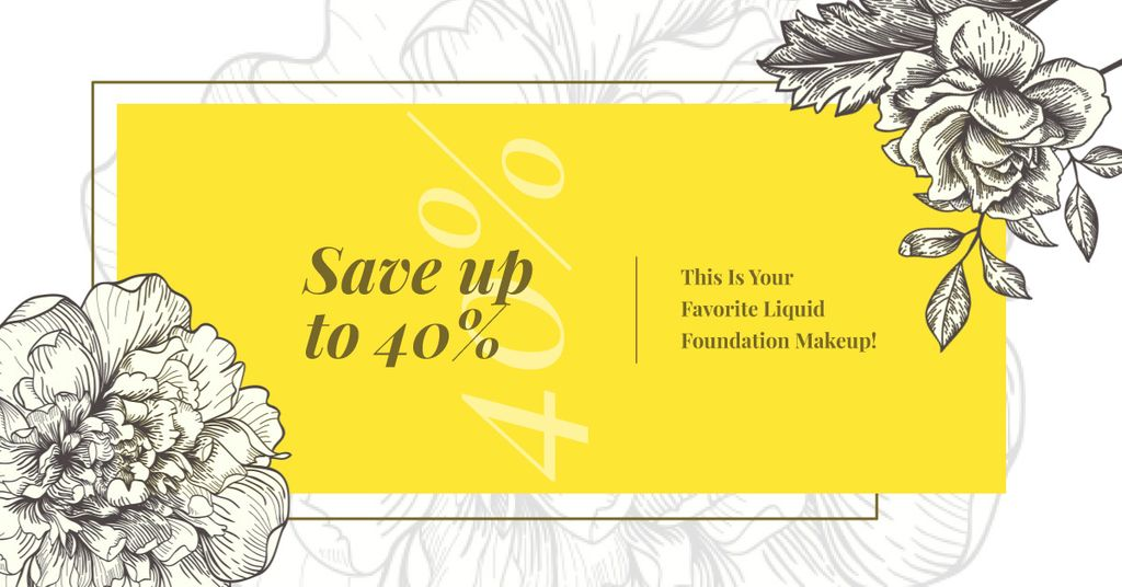 Cosmetics Ad Flowers Illustration Frame in Yellow | Facebook Ad Template — Crear un diseño