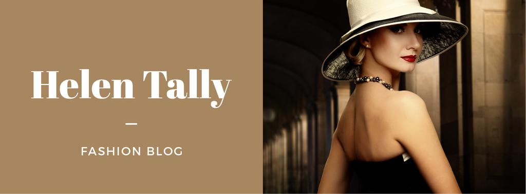 Fashion Blog Ad with Stylish Woman in Hat — Maak een ontwerp
