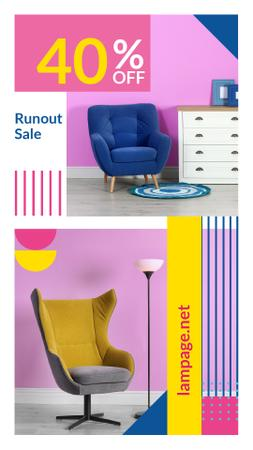 Plantilla de diseño de Furniture Sale Armchair in colorful Interior Instagram Video Story
