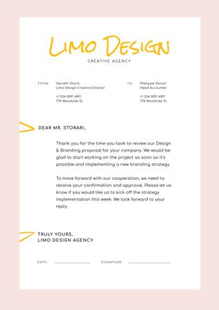 Ontwerpsjabloon van Letterhead van Design Agency official request