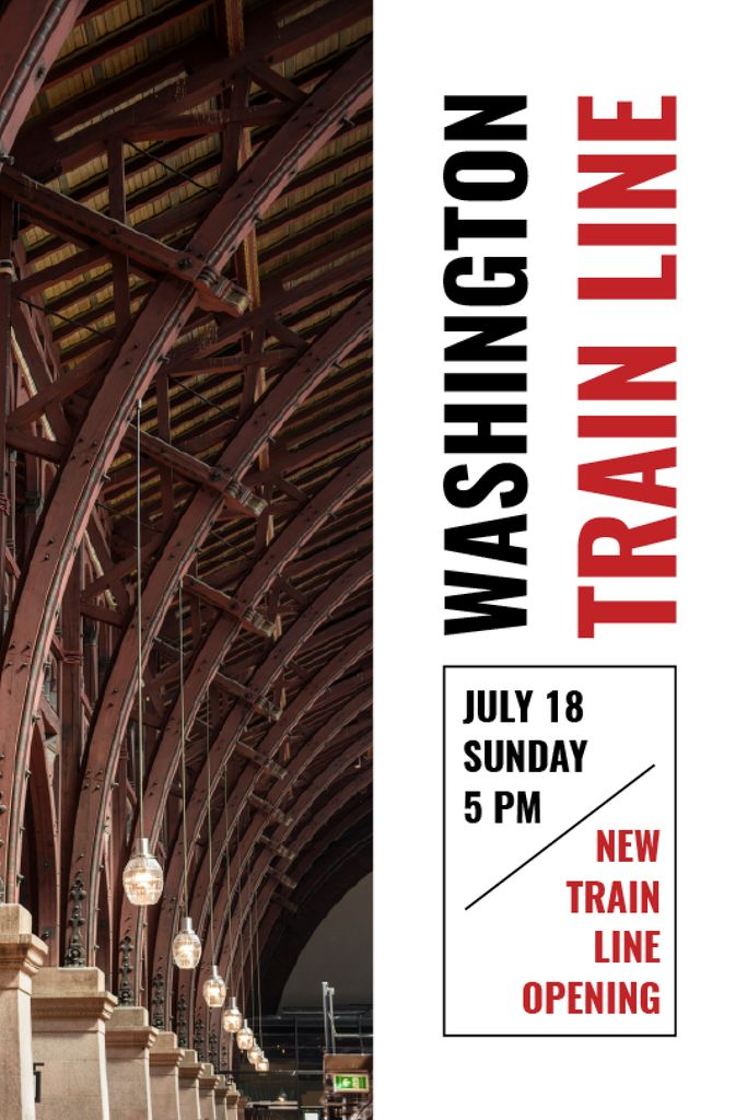 Train Line Opening Announcement Station Interior — Maak een ontwerp