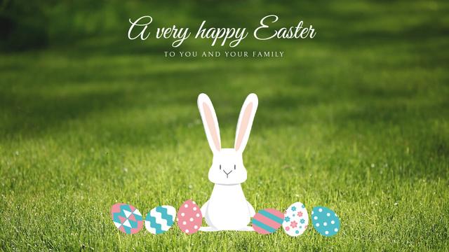 Easter Cute Bunny with Colored Eggs Full HD video Modelo de Design