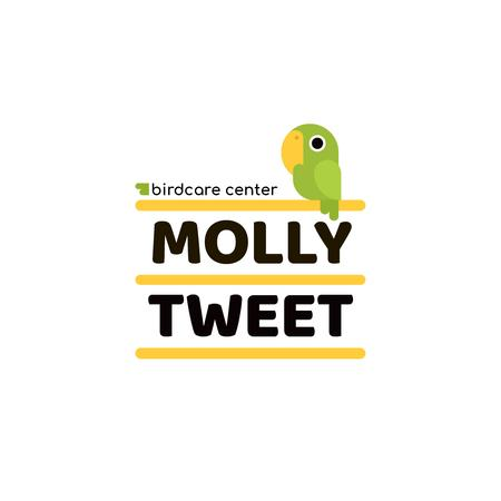 Template di design Birdcare Center with Cute Bird in Green Logo
