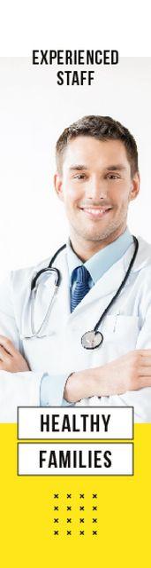 Confident Doctor with Stethoscope Skyscraper – шаблон для дизайна
