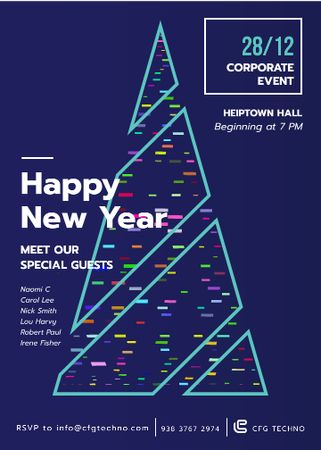 Plantilla de diseño de Stylized Christmas tree for corporate New Year Invitation