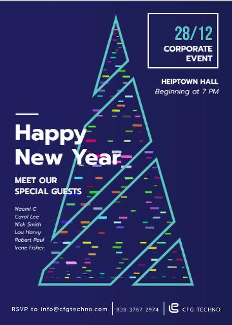 Ontwerpsjabloon van Invitation van Stylized Christmas tree for corporate New Year