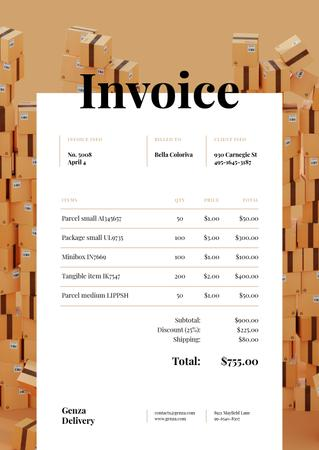 Packing Services with Stack of Boxes Invoice Modelo de Design
