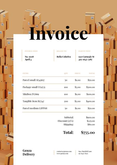 Packing Services with Stack of Boxes Invoiceデザインテンプレート
