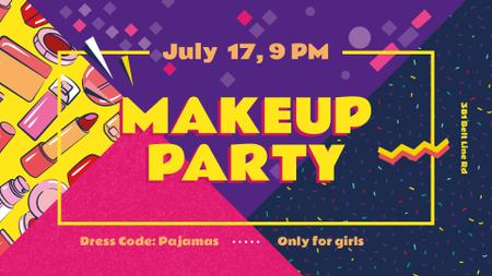 Makeup Party invitation Cosmetics Set FB event cover Modelo de Design