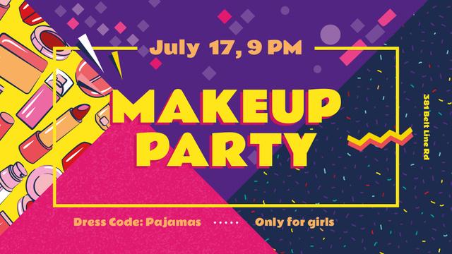 Szablon projektu Makeup Party invitation Cosmetics Set FB event cover