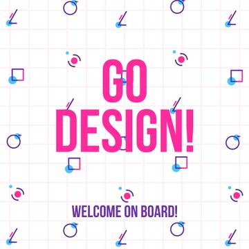 Design Courses Ad Moving Geometric Figures | Square Video Template