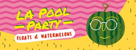Funny watermelon in sunglasses Facebook Video cover Design Template
