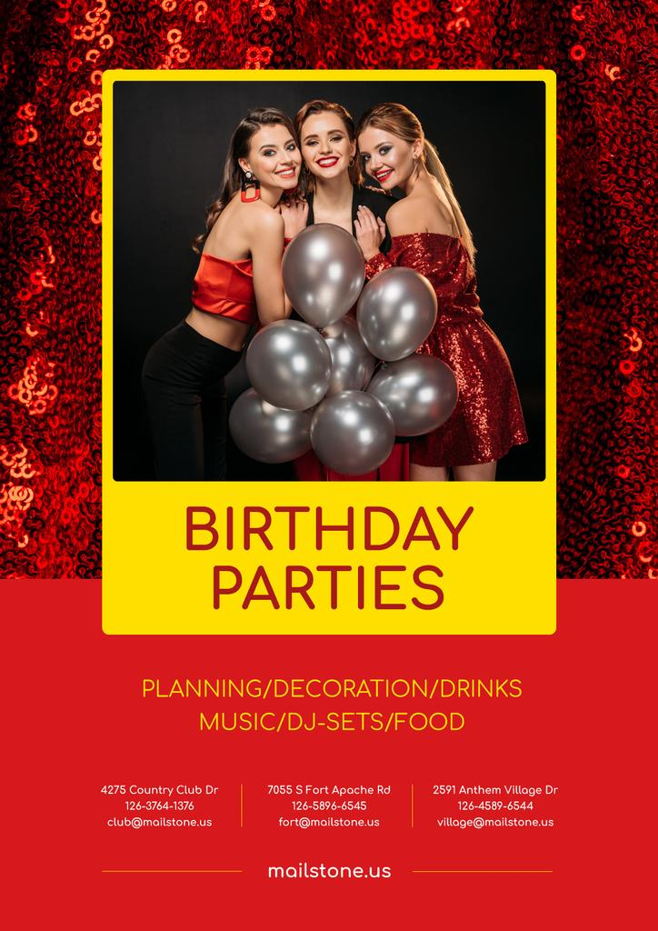 Party Organization Services Girls with Balloons | Poster Template — Crea un design