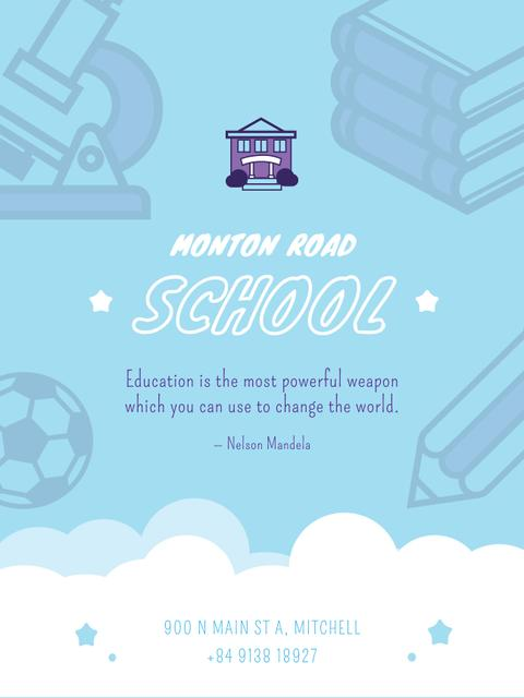 School Advertisement Studying Icons in Blue Poster USデザインテンプレート