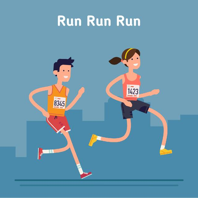 People running marathon race Animated Post Modelo de Design