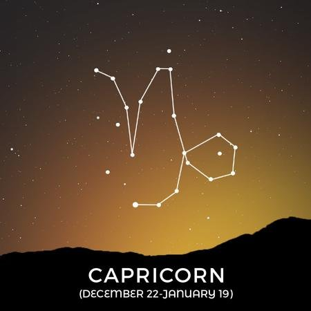Modèle de visuel Night Sky with Capricorn Constellation - Animated Post