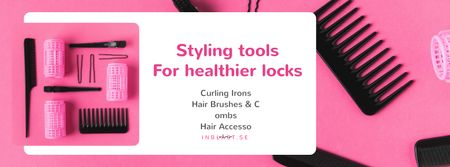 Hairdressing Tools Sale in Pink Facebook cover Modelo de Design
