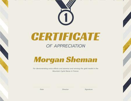 Template di design Appreciation for winning Bicycle Race Certificate